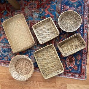 6 Piece Boho Vintage Wicker Tray / Basket Wall Set